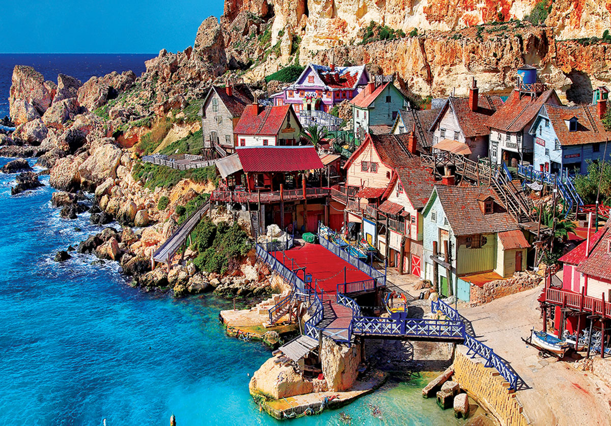 Popeye Village Malta - Scratch and Dent Seascape / Coastal Living Jigsaw Puzzle