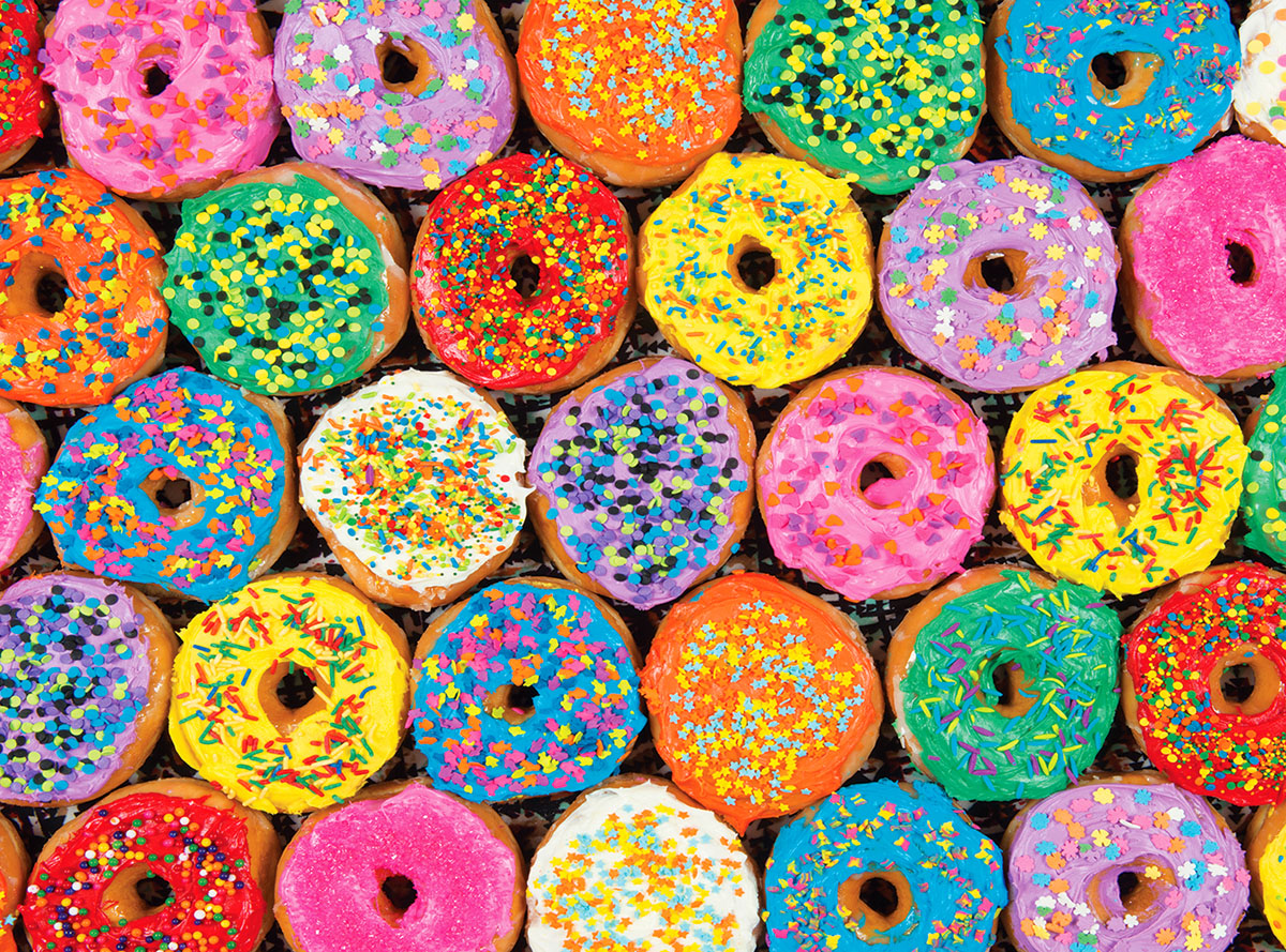 Donuts with Colored Icing and Sprinkles - Scratch and Dent Sweets Jigsaw Puzzle
