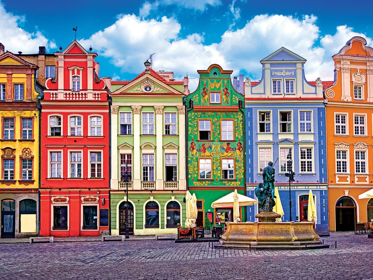Colorful Buildings, Ponzan, Poland Europe Jigsaw Puzzle