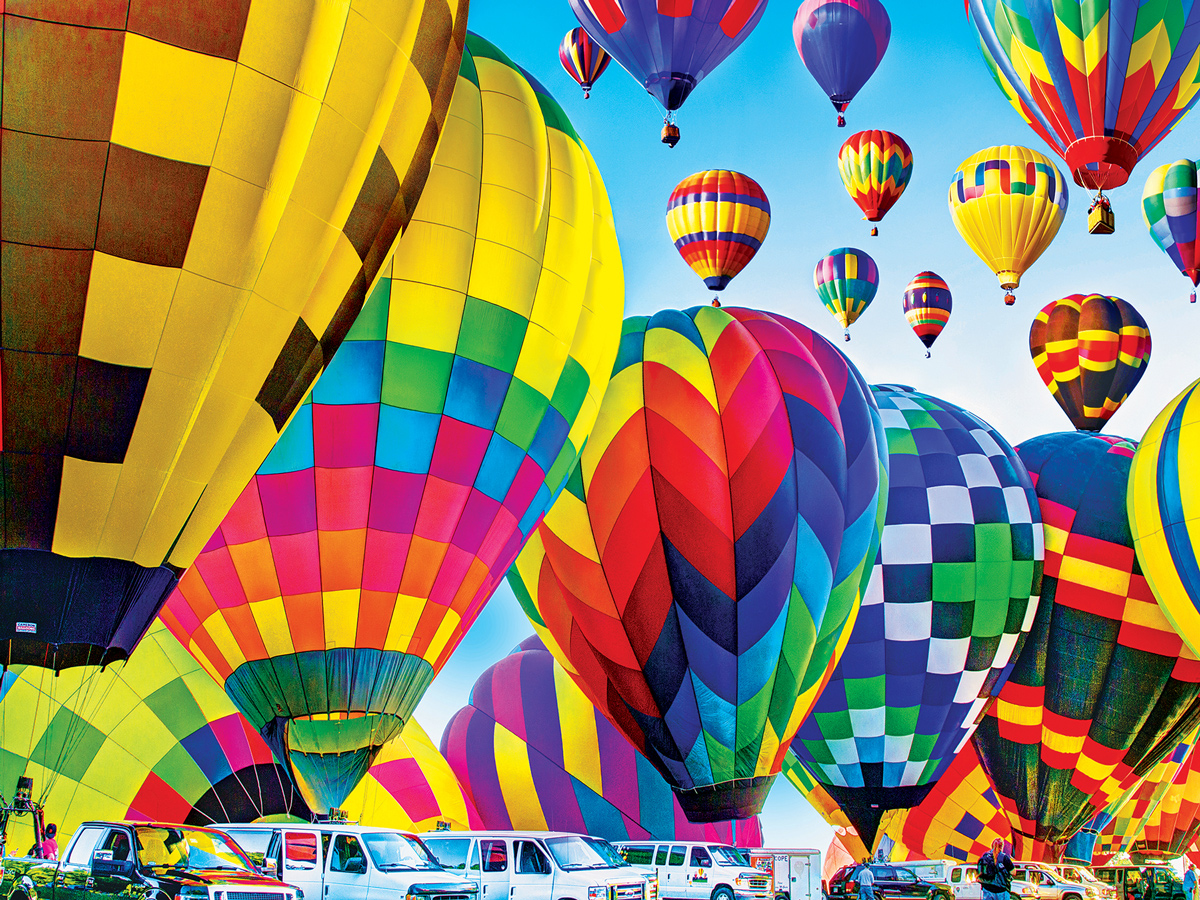Hot Air Balloons Inflate On The Ground, Michigan Balloons Jigsaw Puzzle