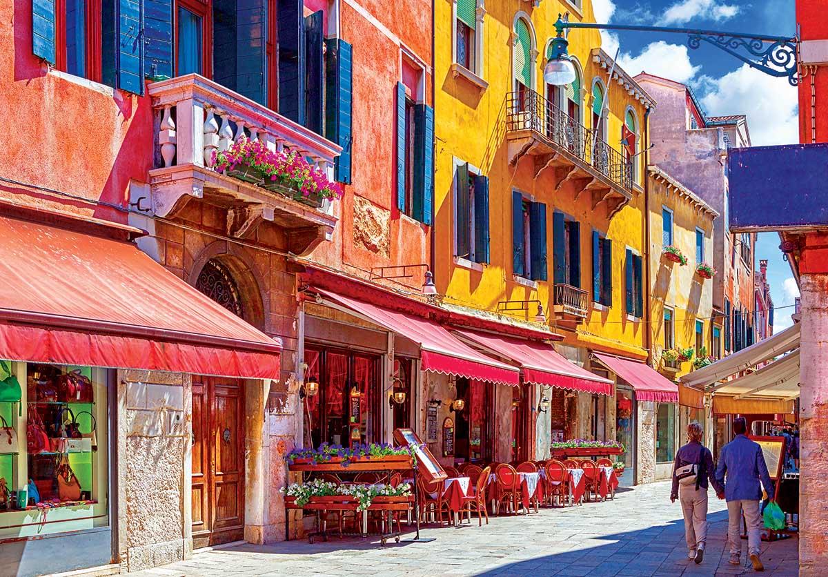 Quaint Café on the Sunnyside of the Street Venice Italy Italy Jigsaw Puzzle