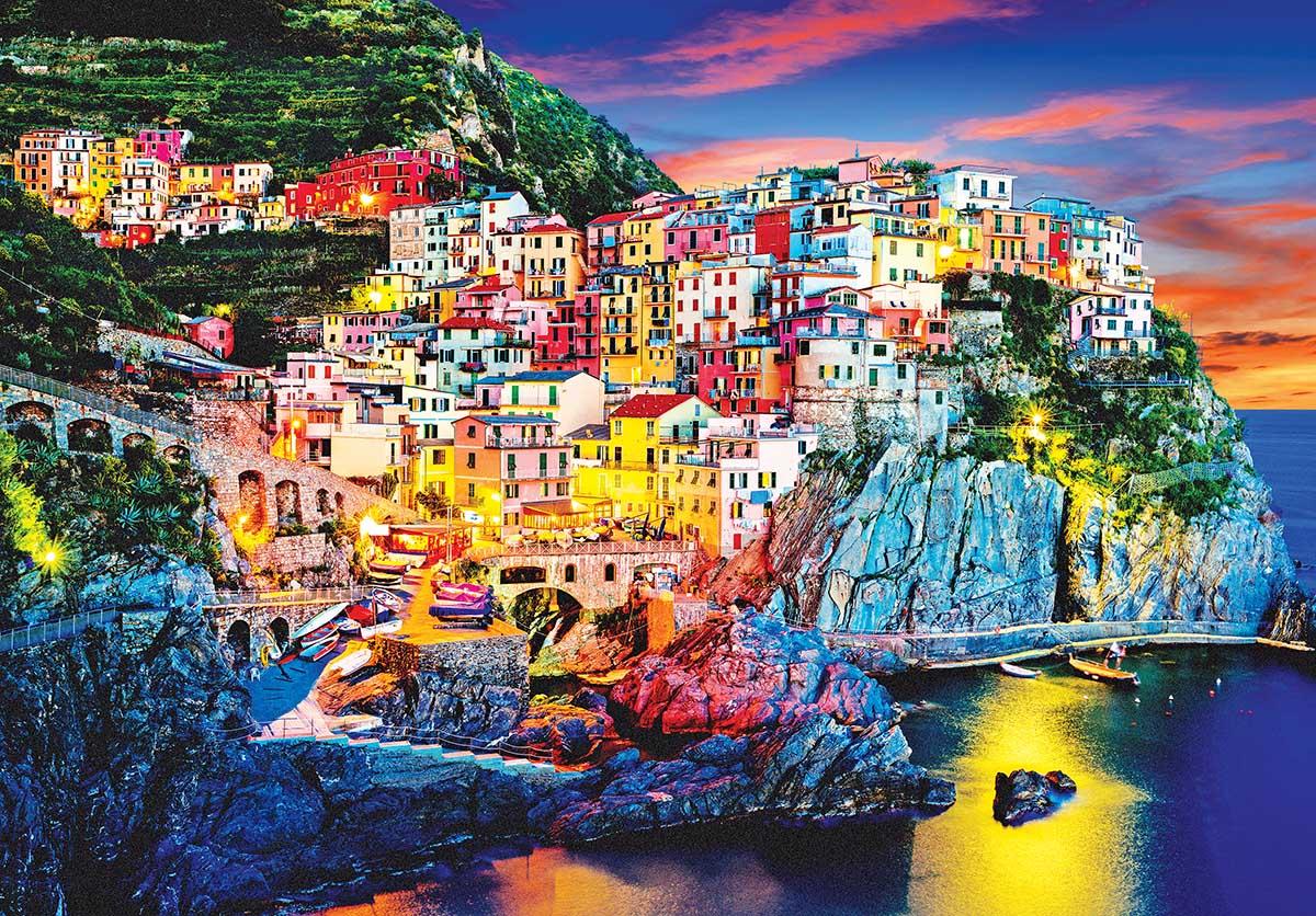 Beautiful view of Manarola at Night, Italy Italy Jigsaw Puzzle