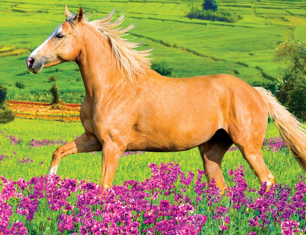 Horse Running in Field of Purple Flowers Horses Jigsaw Puzzle