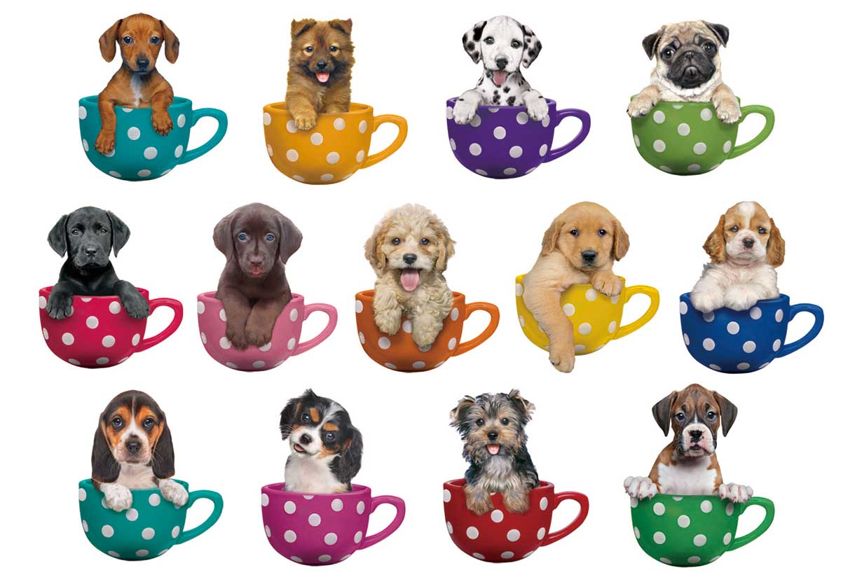 Pups in Cups Dogs Shaped Puzzle