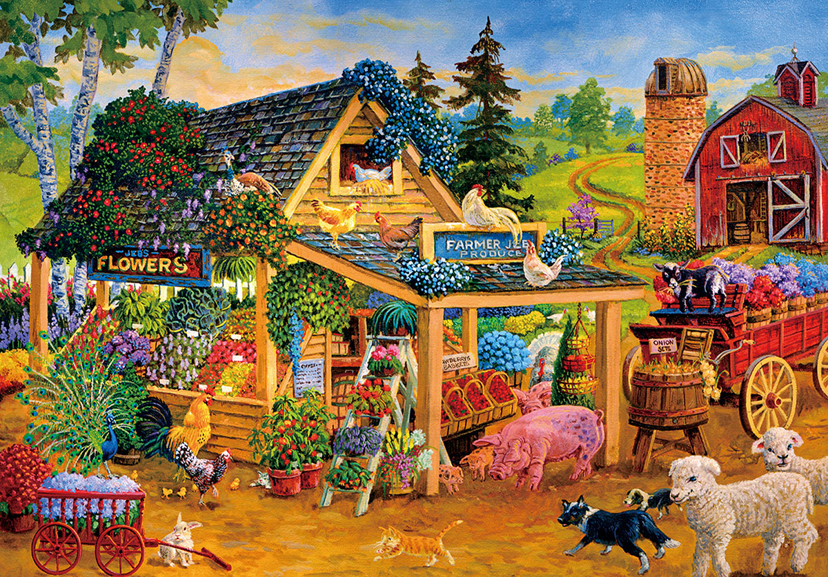 Barnyard Farmers Market Farm Jigsaw Puzzle