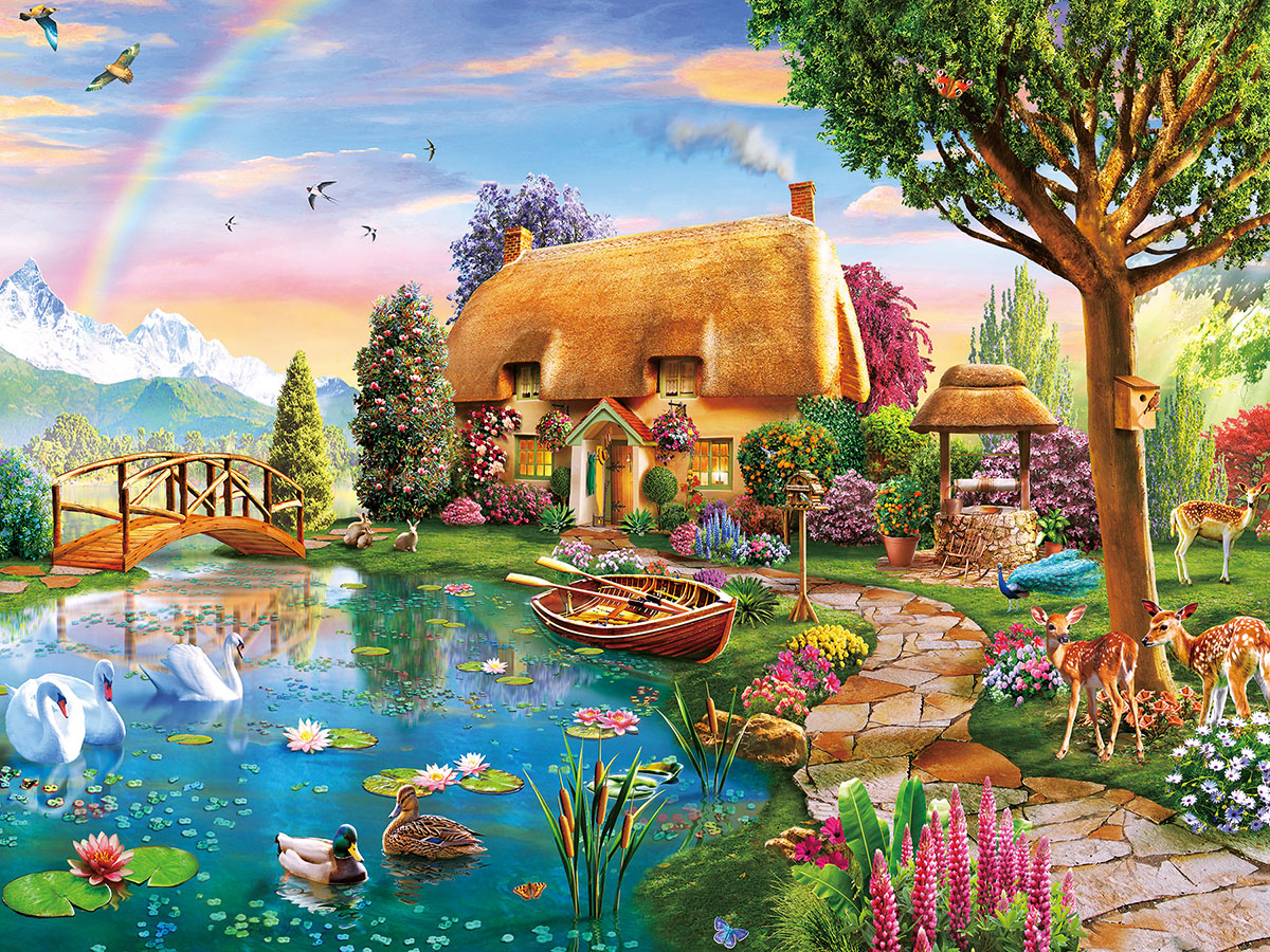 Lakeside Cottage Lakes / Rivers / Streams Jigsaw Puzzle