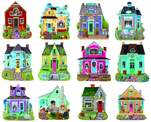 Sweet Cottages I Cottage / Cabin Shaped Puzzle