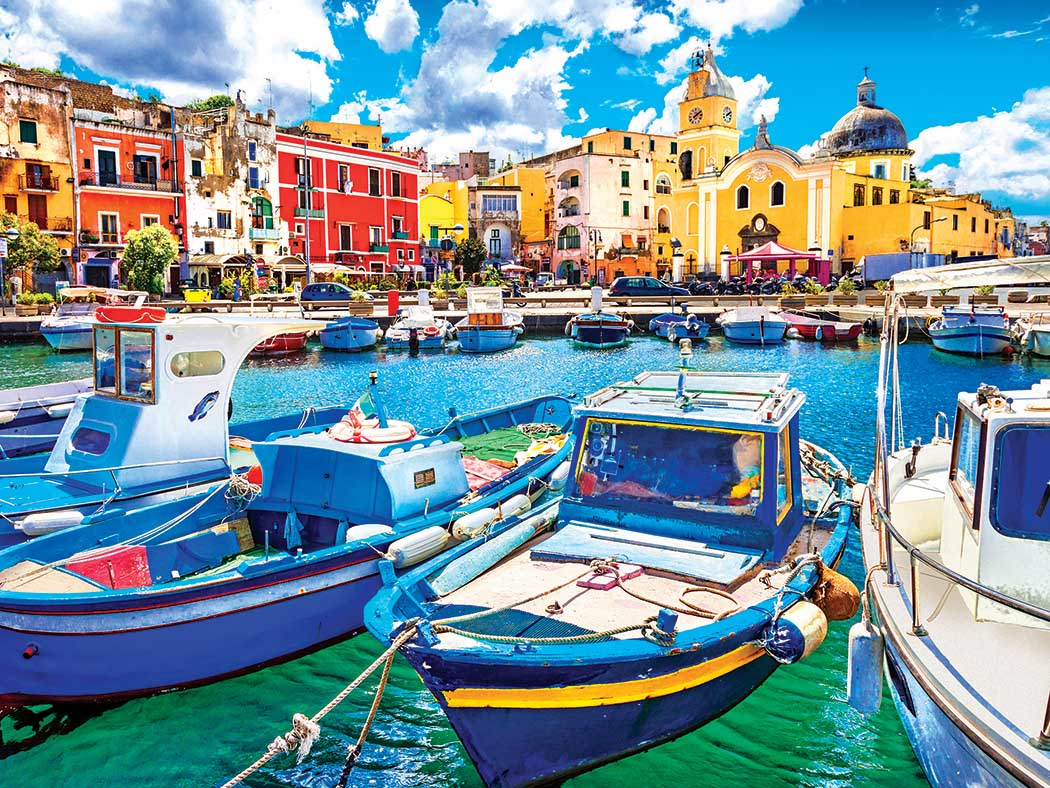 Colorful Procida Island with Boats Italy Summer Jigsaw Puzzle