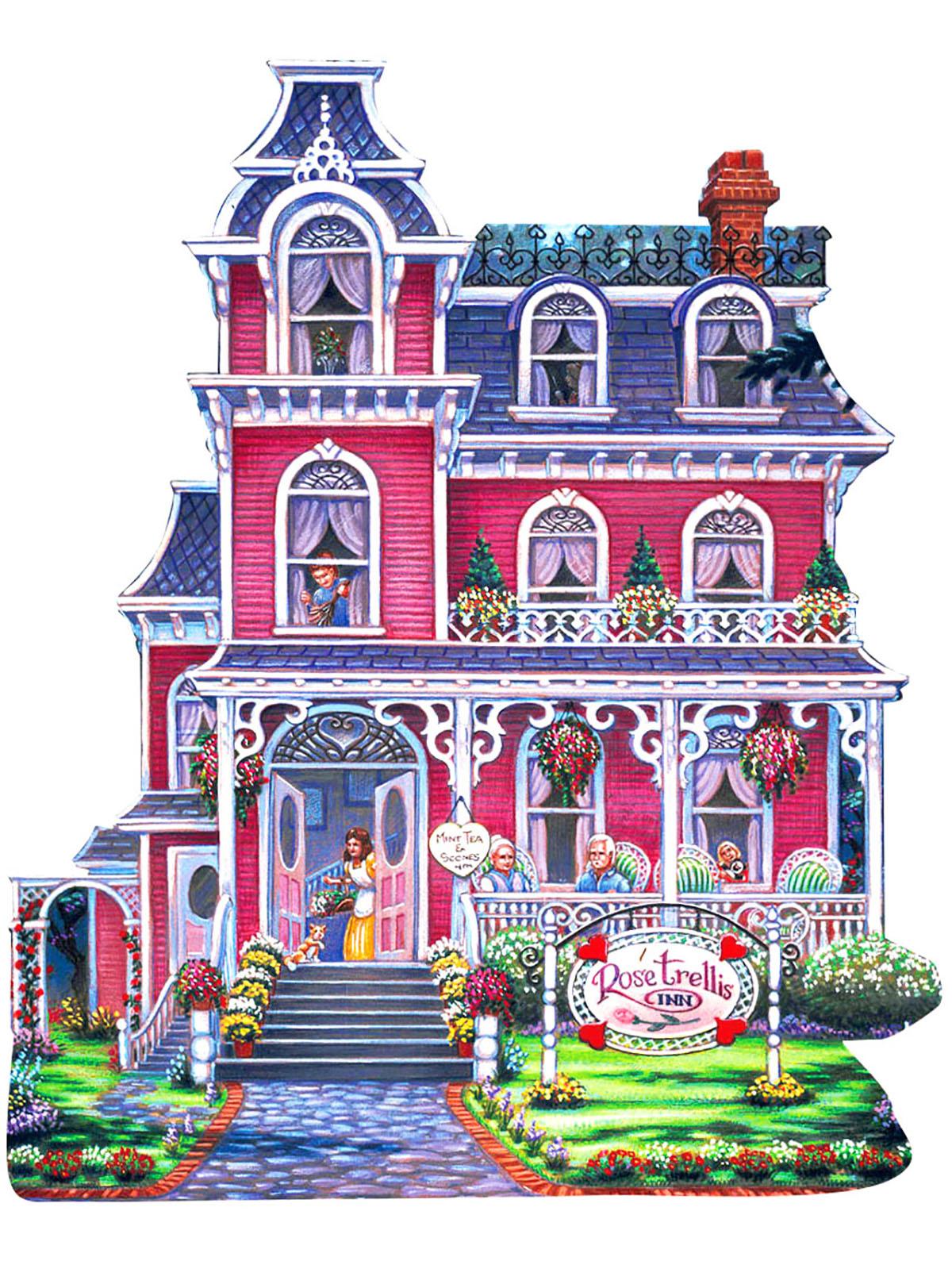 Rose Trellis Inn Domestic Scene Jigsaw Puzzle