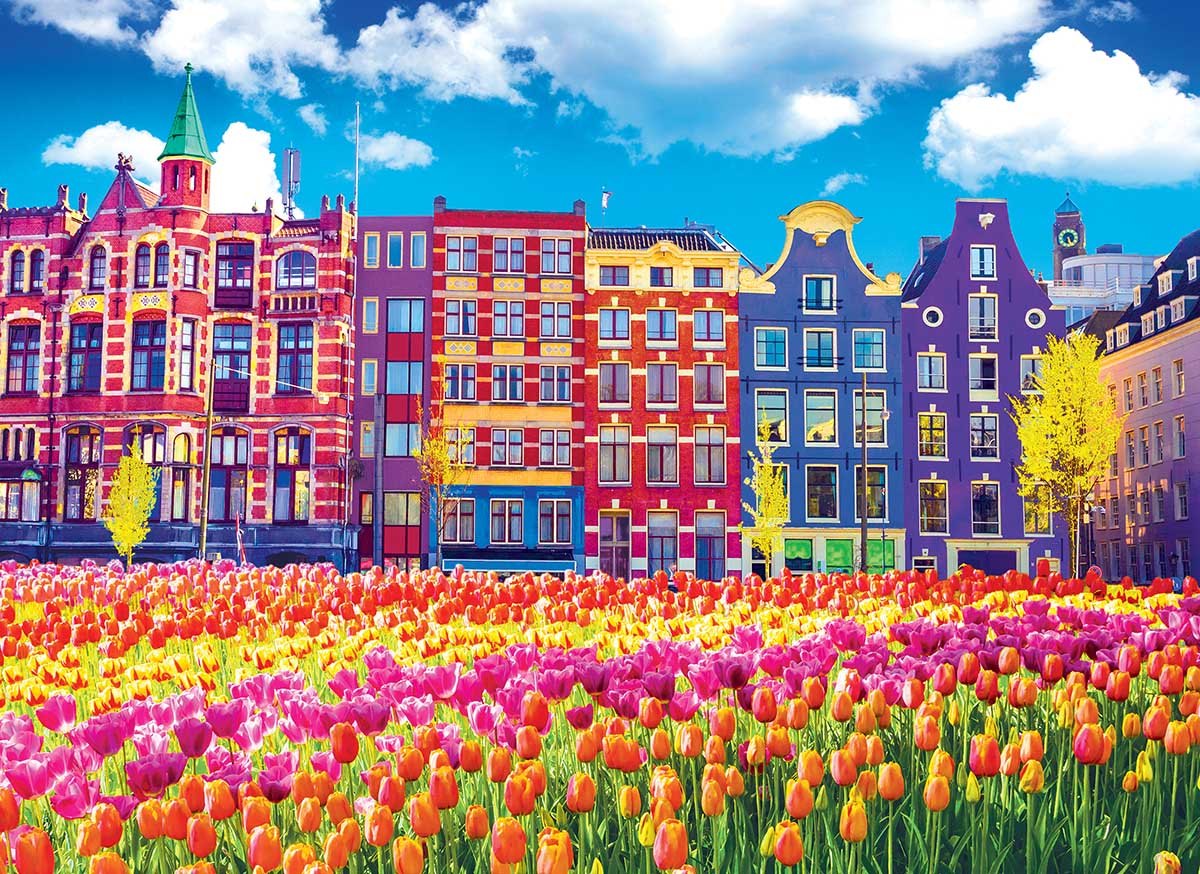 Traditional Buildings and Tulips in Amsterdam Amsterdam Jigsaw Puzzle
