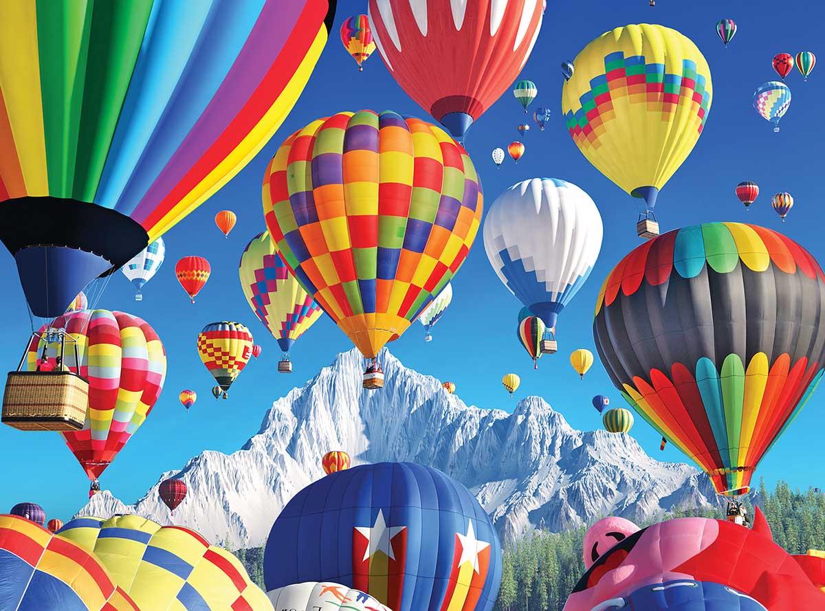 Balloons over a Mountain Balloons Jigsaw Puzzle