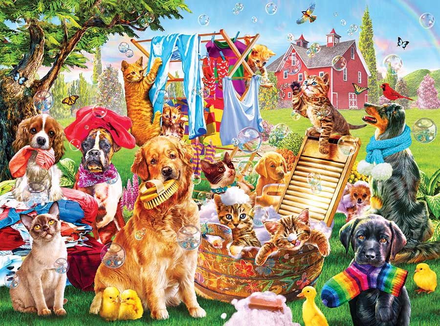 Laundry Day Cats Jigsaw Puzzle