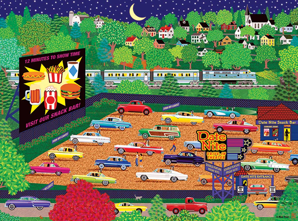 Date Night Drive Inn Summer Jigsaw Puzzle
