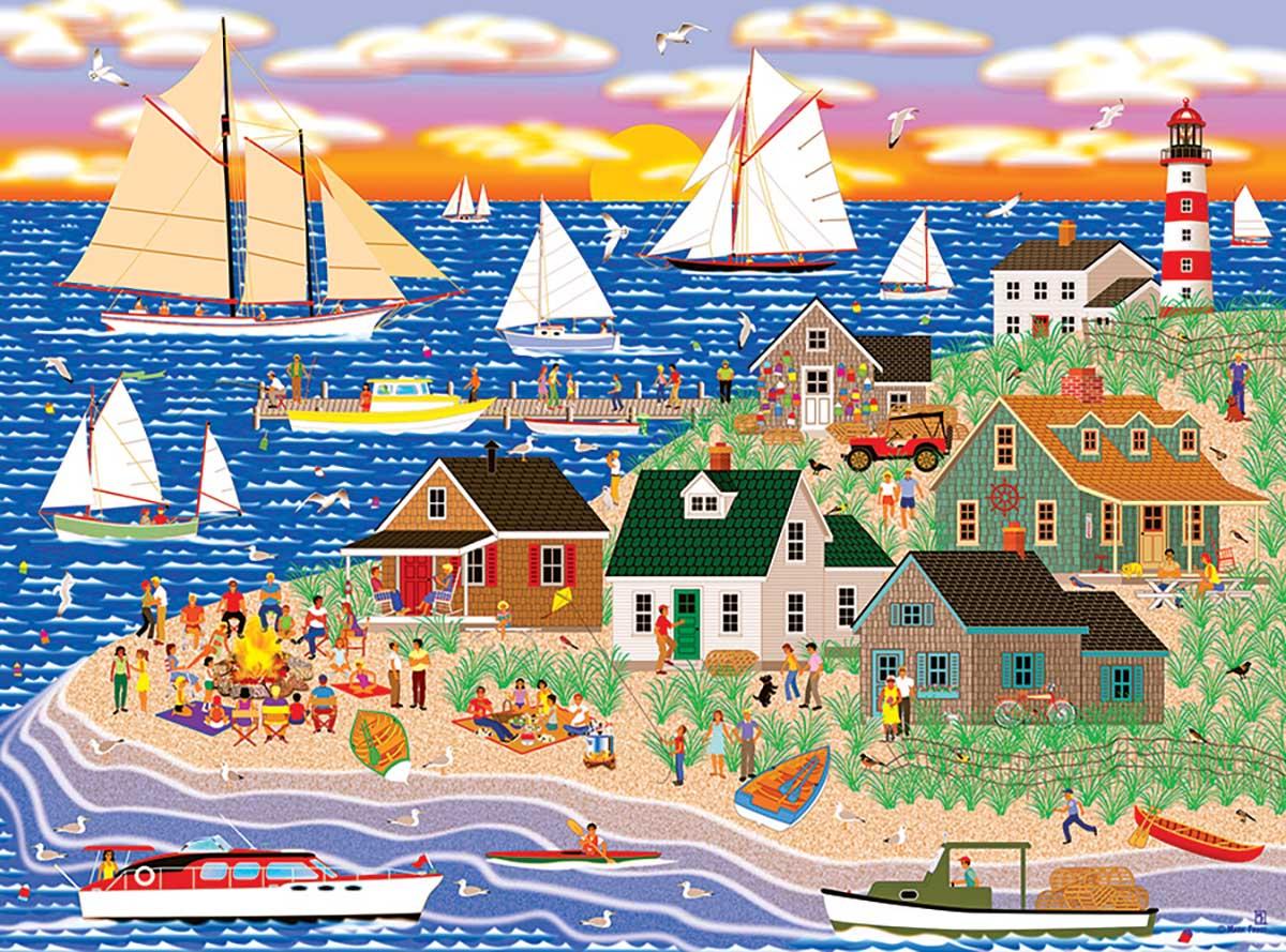 Beach Fire Gathering Beach Jigsaw Puzzle