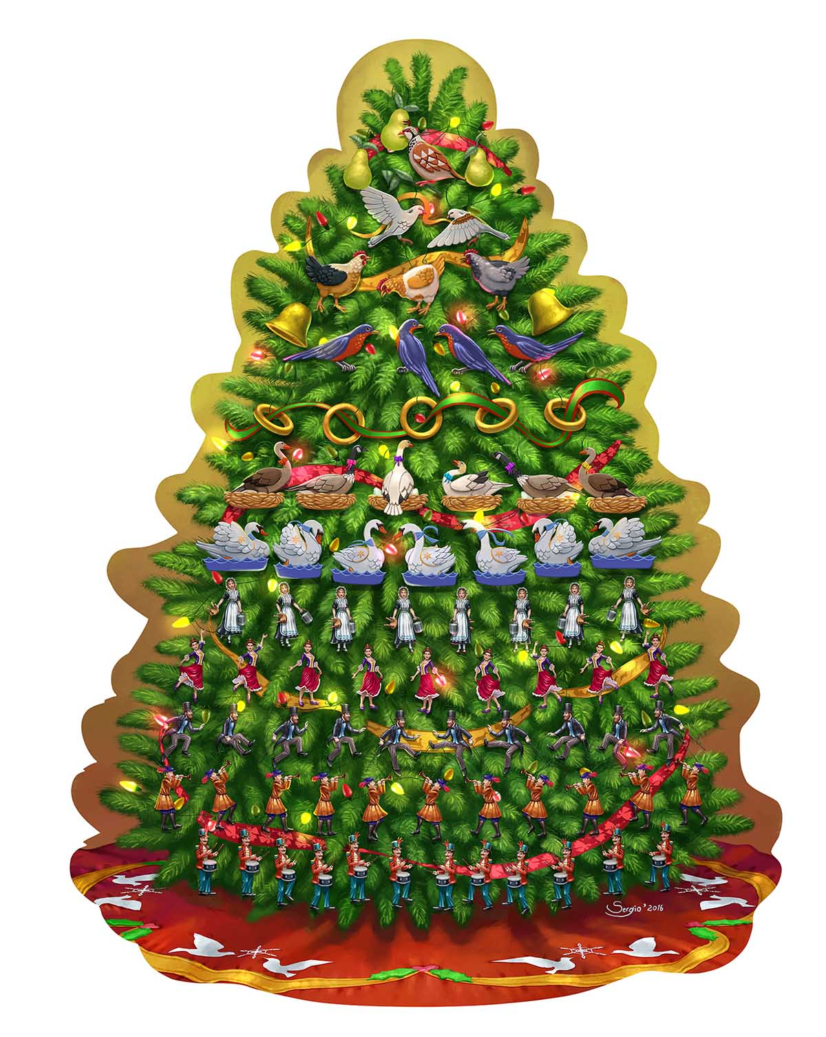 12 Days of Christmas Tree Christmas Shaped Puzzle