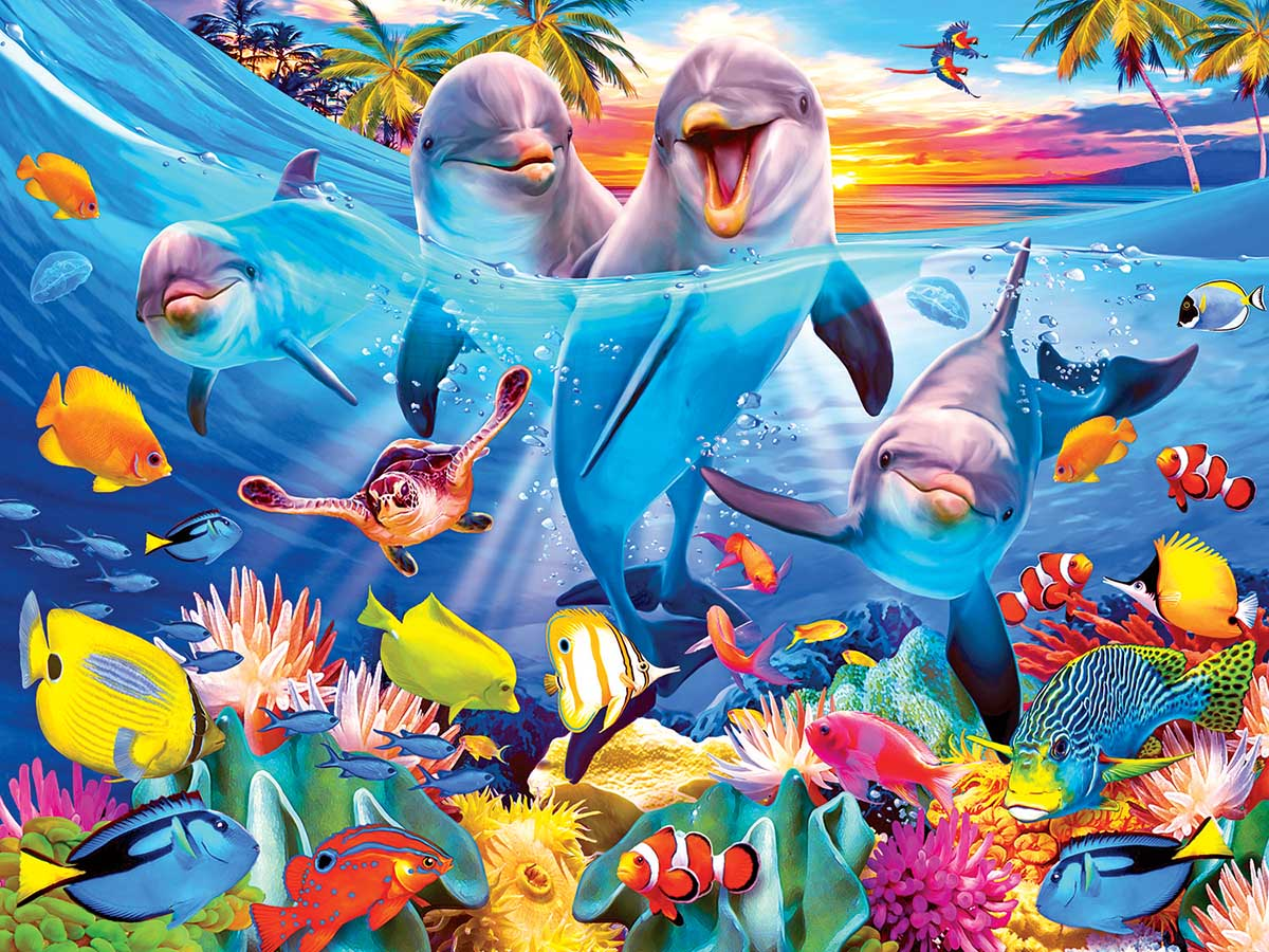 Playful Dolphins Under The Sea Jigsaw Puzzle