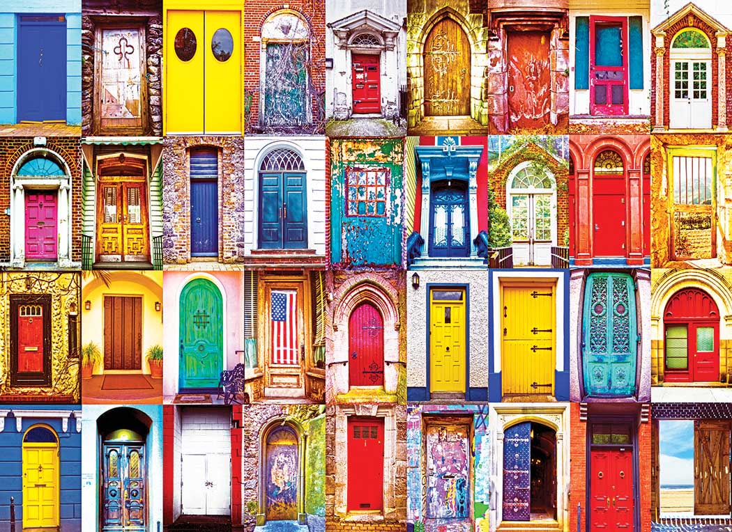 Colorful American Doors Collage Jigsaw Puzzle