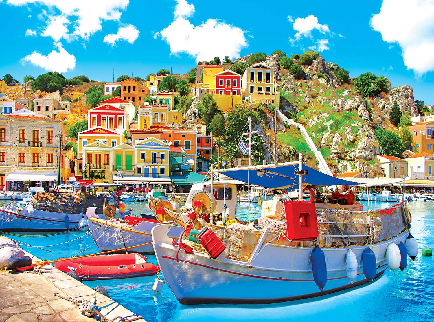 Symi With Boats In The Harbor, Greece Boats Jigsaw Puzzle