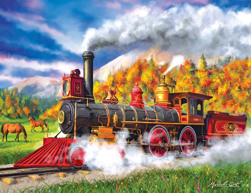 Full Steam Ahead By Marcello Corti Trains Jigsaw Puzzle