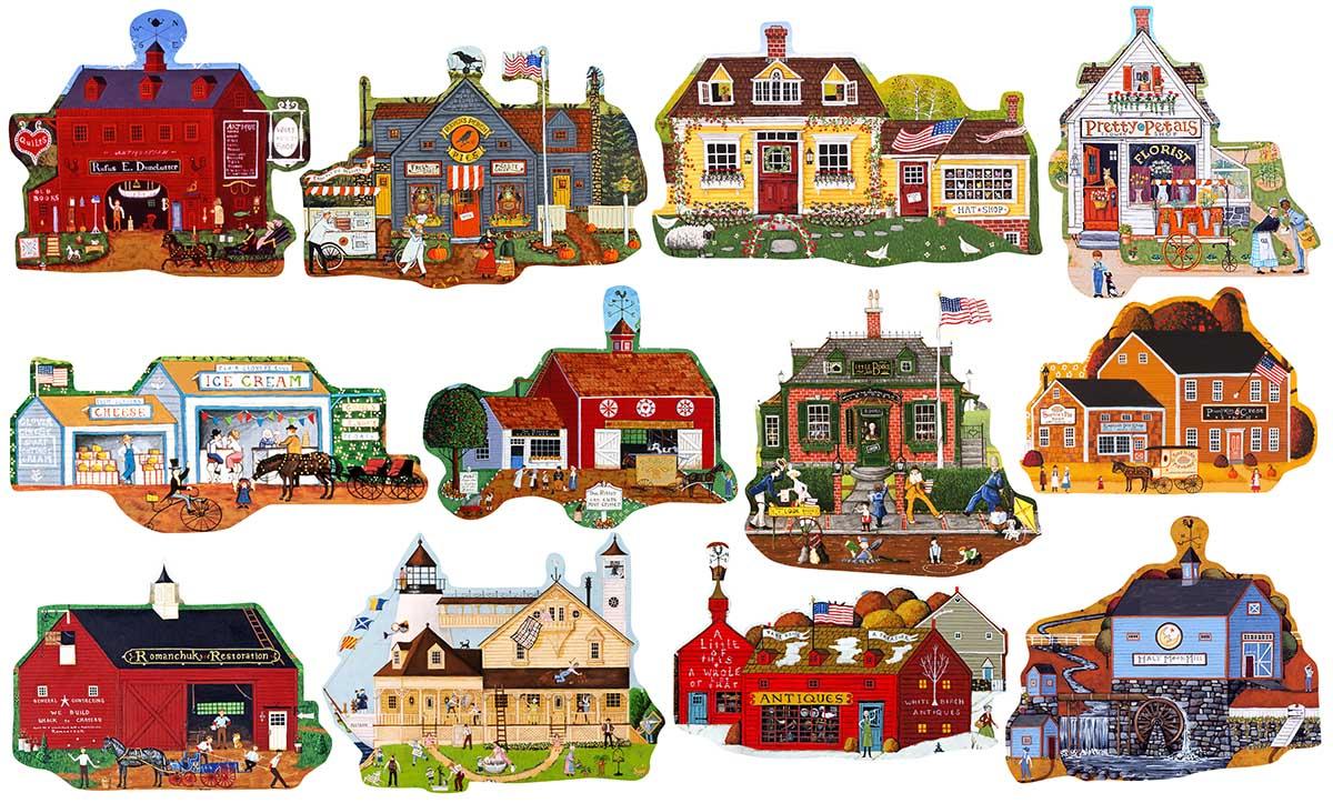 Main Street Domestic Scene Shaped Puzzle