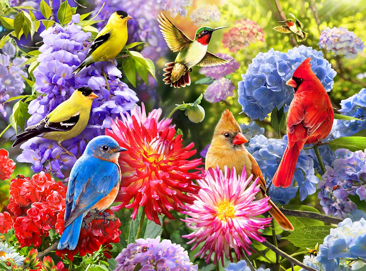 Spring Meet Up Birds Jigsaw Puzzle
