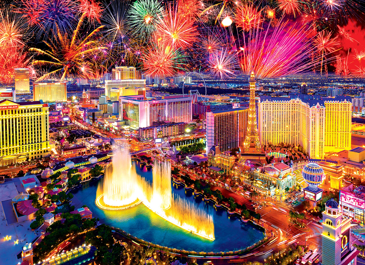 Fireworks Over Las Vegas Fireworks Jigsaw Puzzle