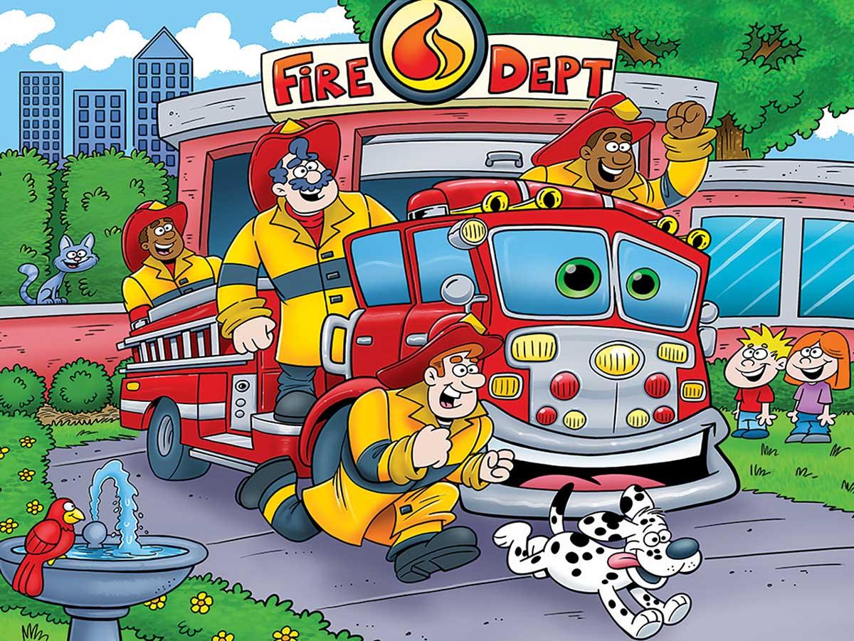 Fire Truck Vehicles Floor Puzzle