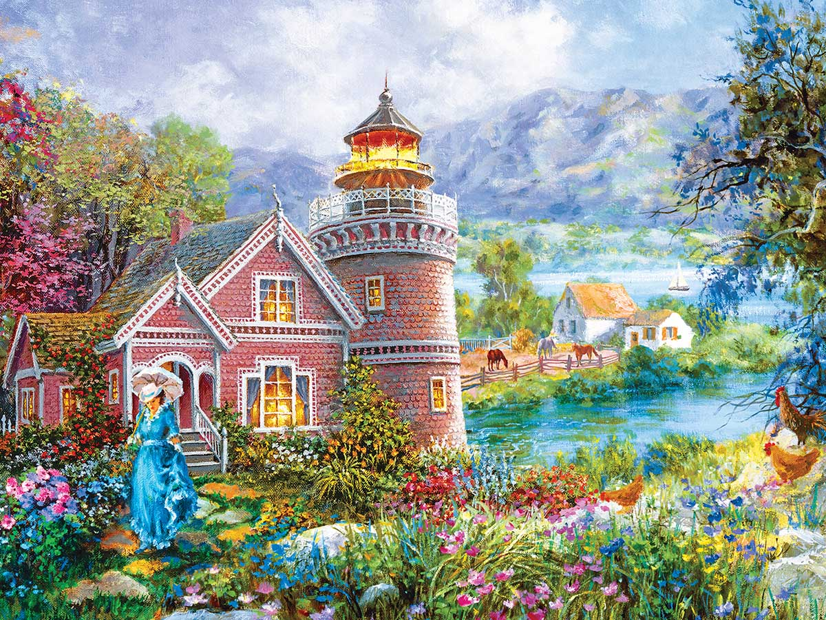 Lighthouse Morning in Spring Lighthouses Jigsaw Puzzle