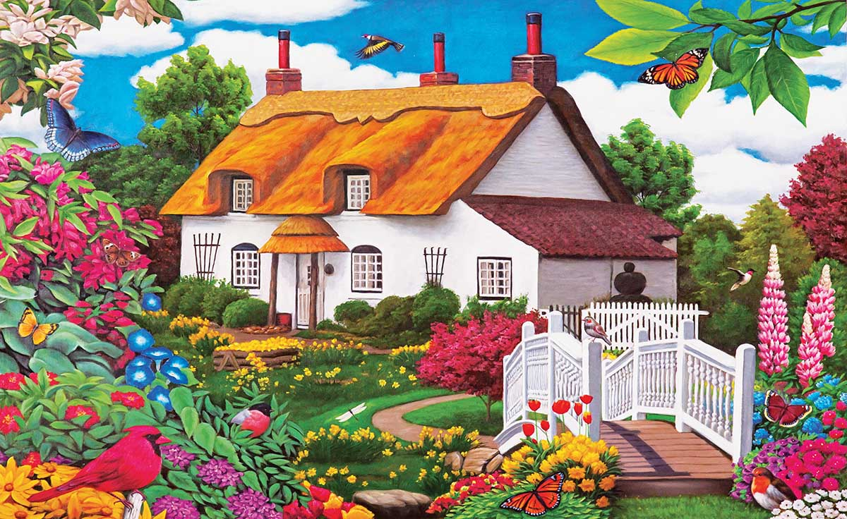 Summer Garden Cottage Birds Jigsaw Puzzle