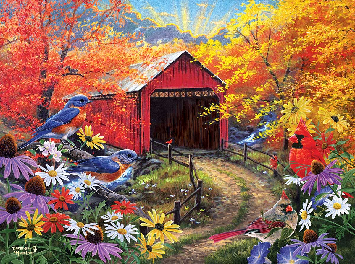 Bluebird Bridge Birds Jigsaw Puzzle