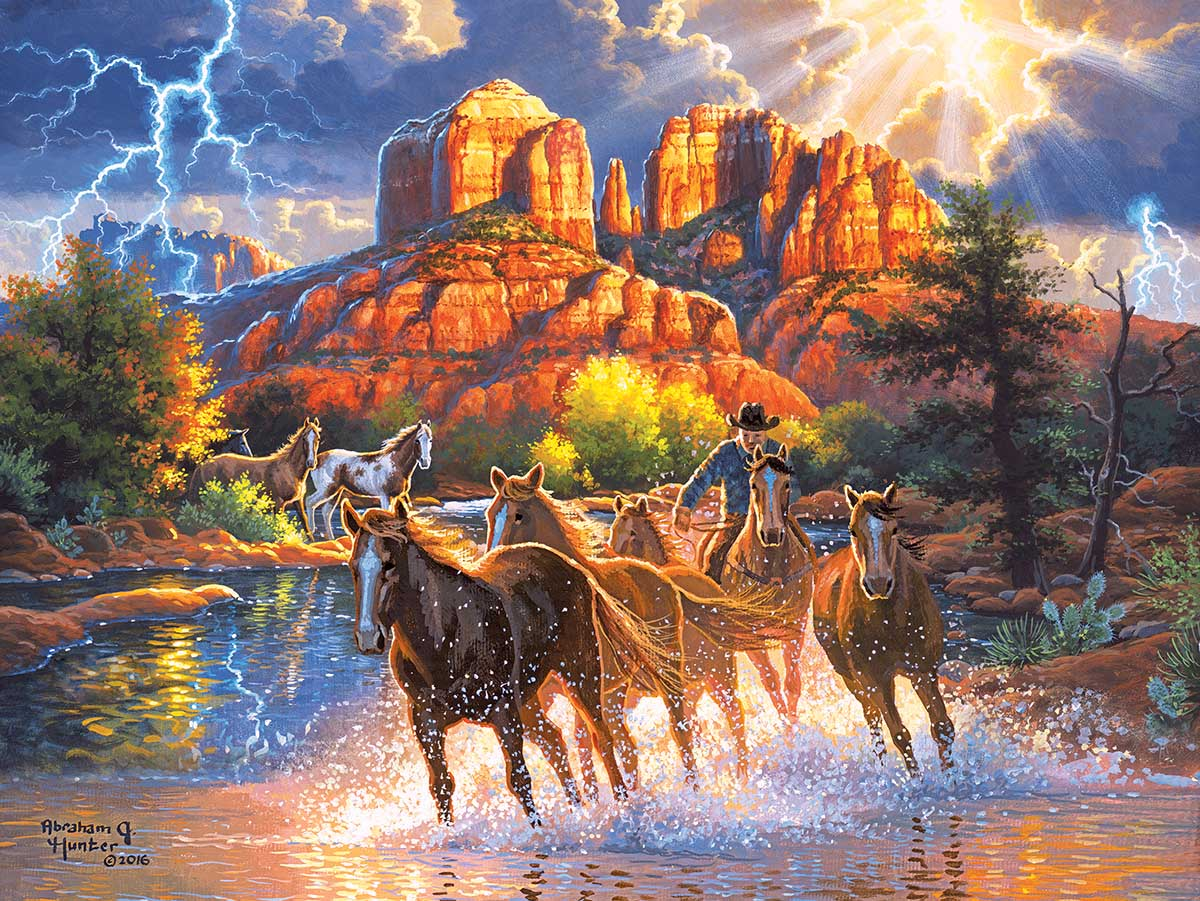 Mountain Horses Mountains Jigsaw Puzzle
