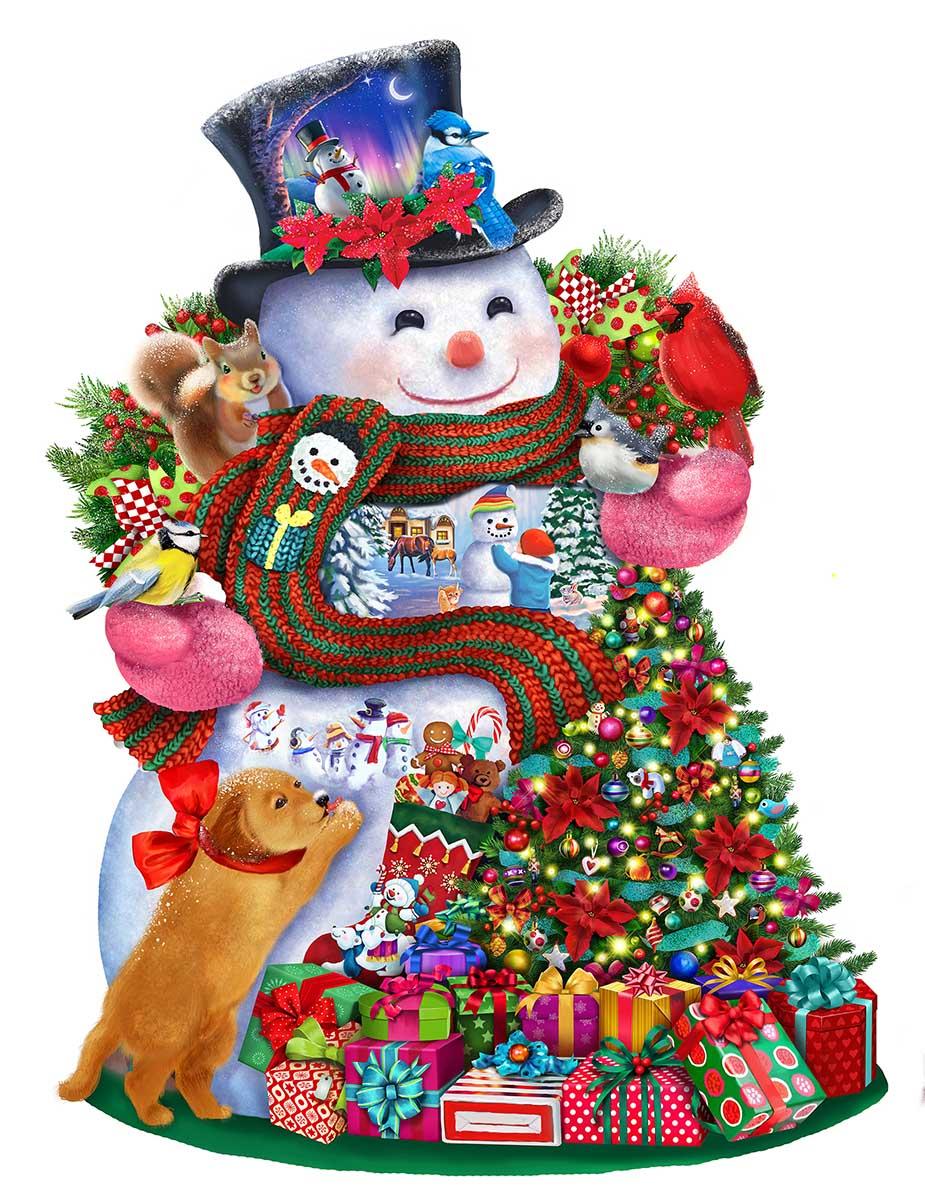 Happy Snowman Snowman Shaped Puzzle