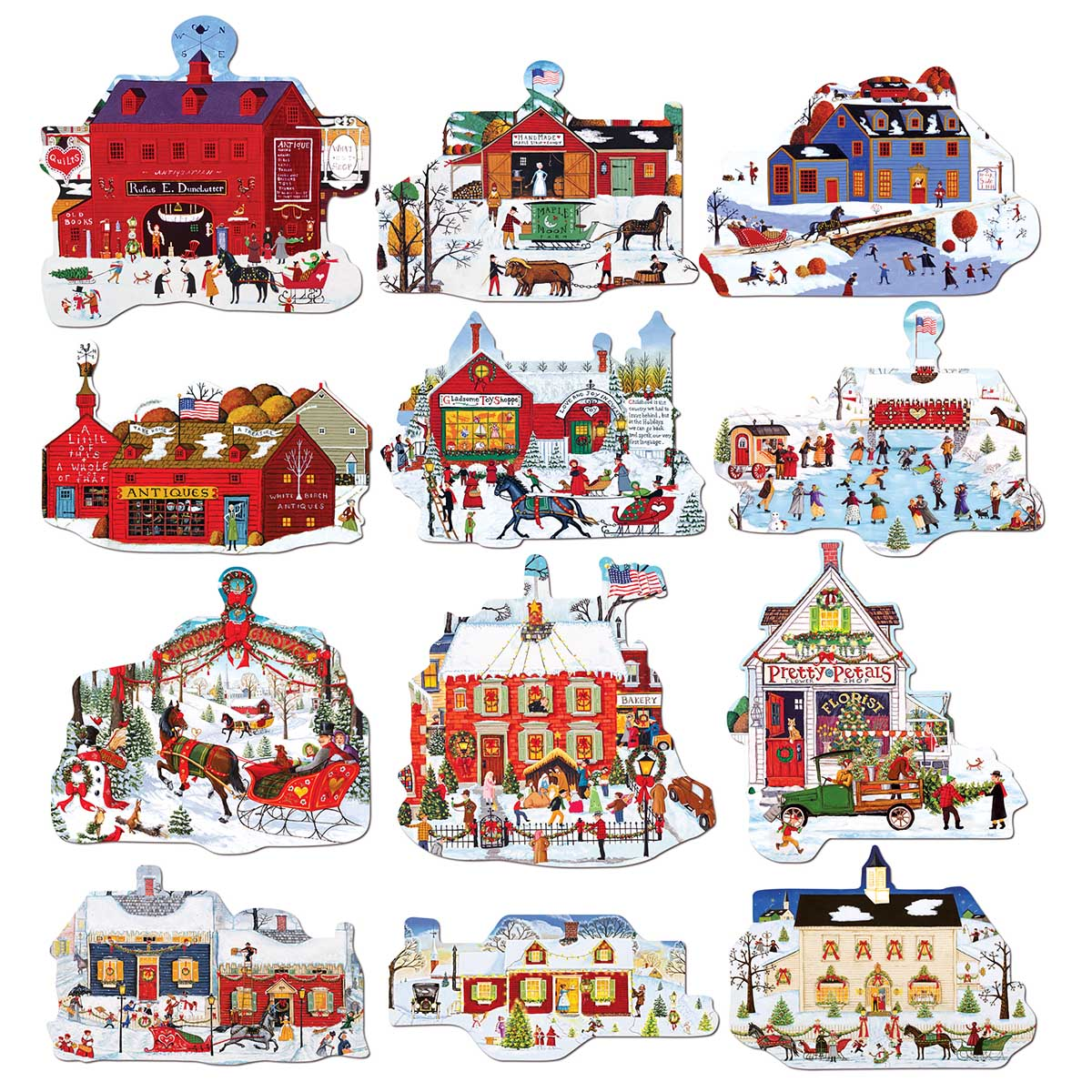 Merry Christmas Town Christmas Shaped Puzzle