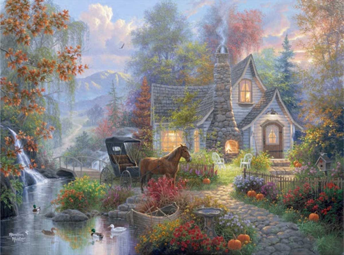Fairytale Cottage Forest Jigsaw Puzzle