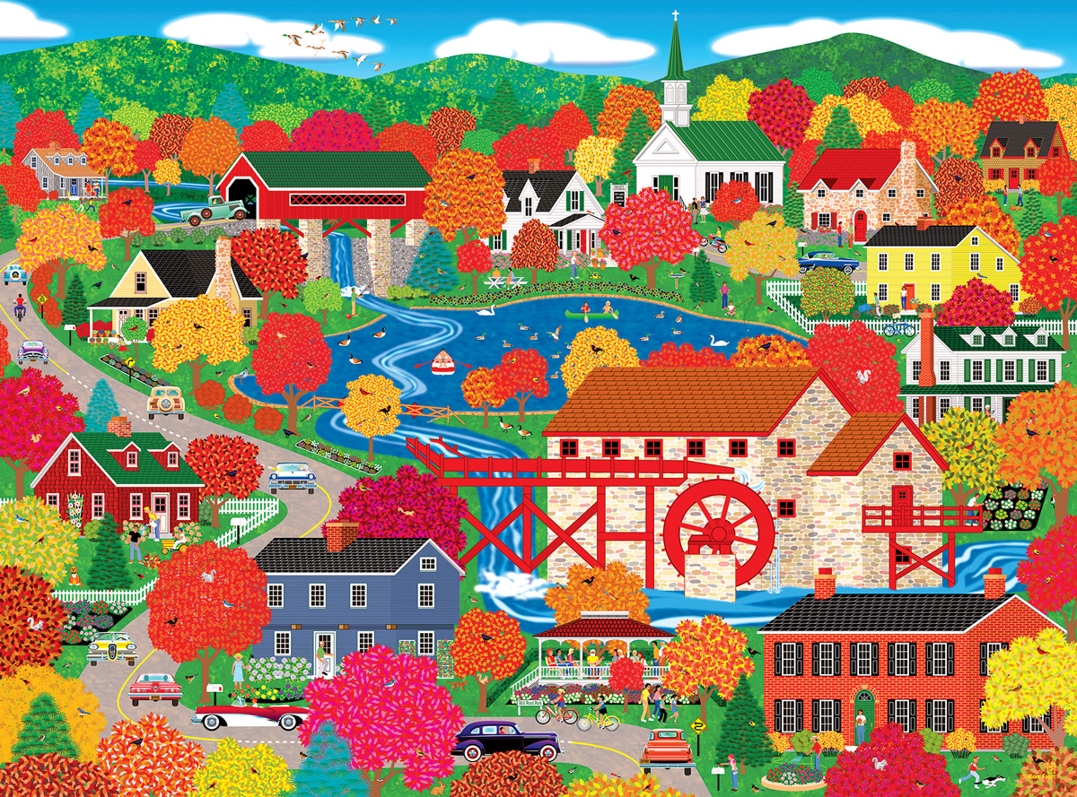 Home Country - Old Mill Pond Countryside Jigsaw Puzzle