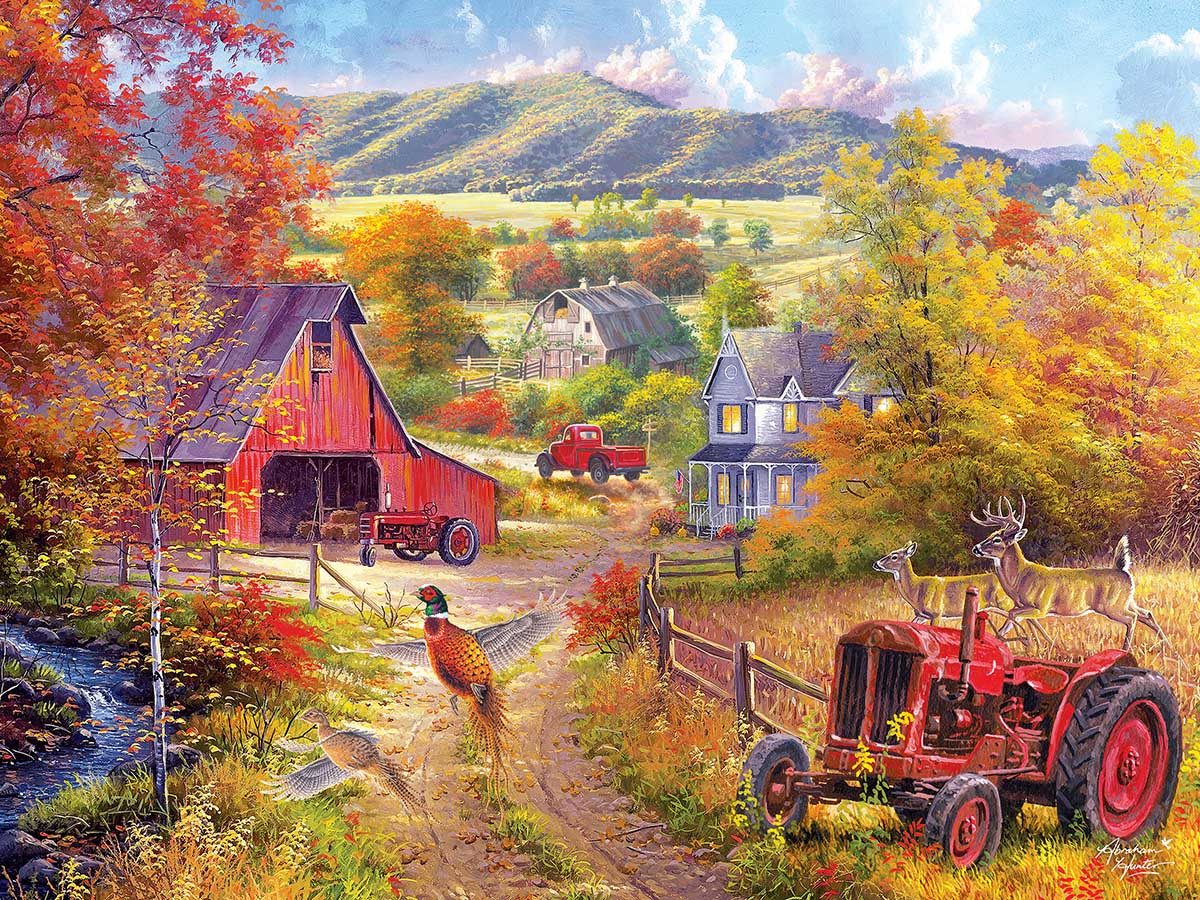 Down the Country Road Countryside Jigsaw Puzzle