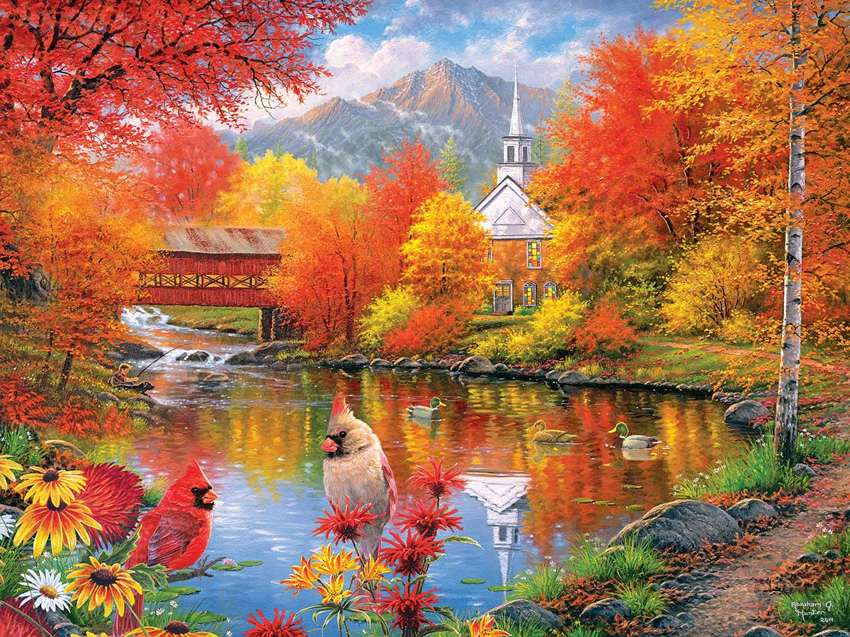Autumn Tranquility Birds Jigsaw Puzzle