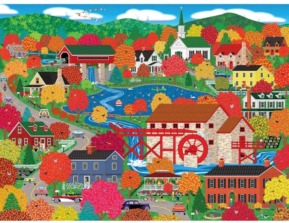 Old Mill Pond Fall Jigsaw Puzzle