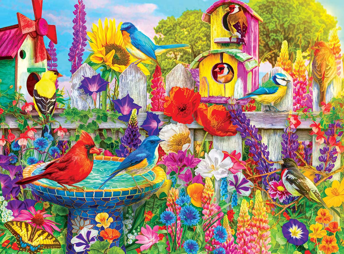 Bird Bath Garden Birds Jigsaw Puzzle