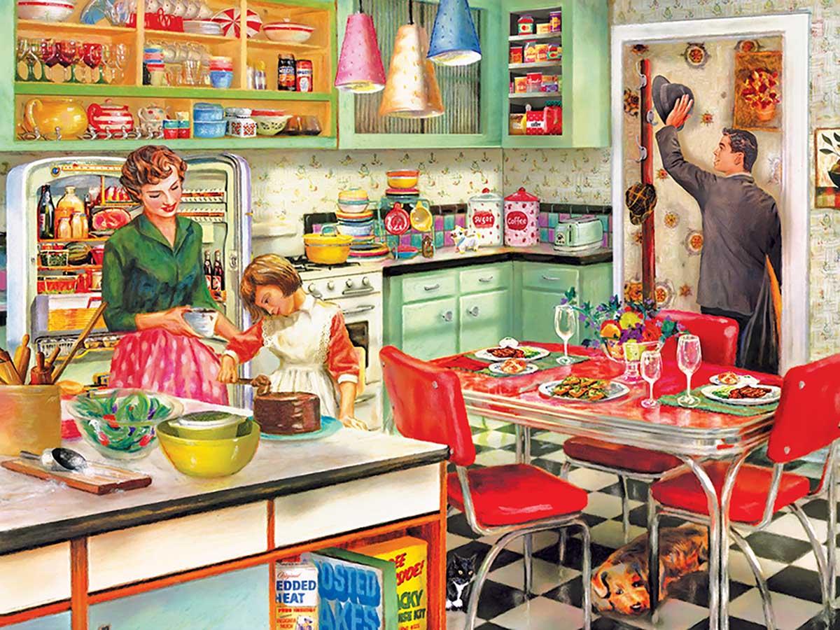 Baking with Mom Nostalgic / Retro Jigsaw Puzzle