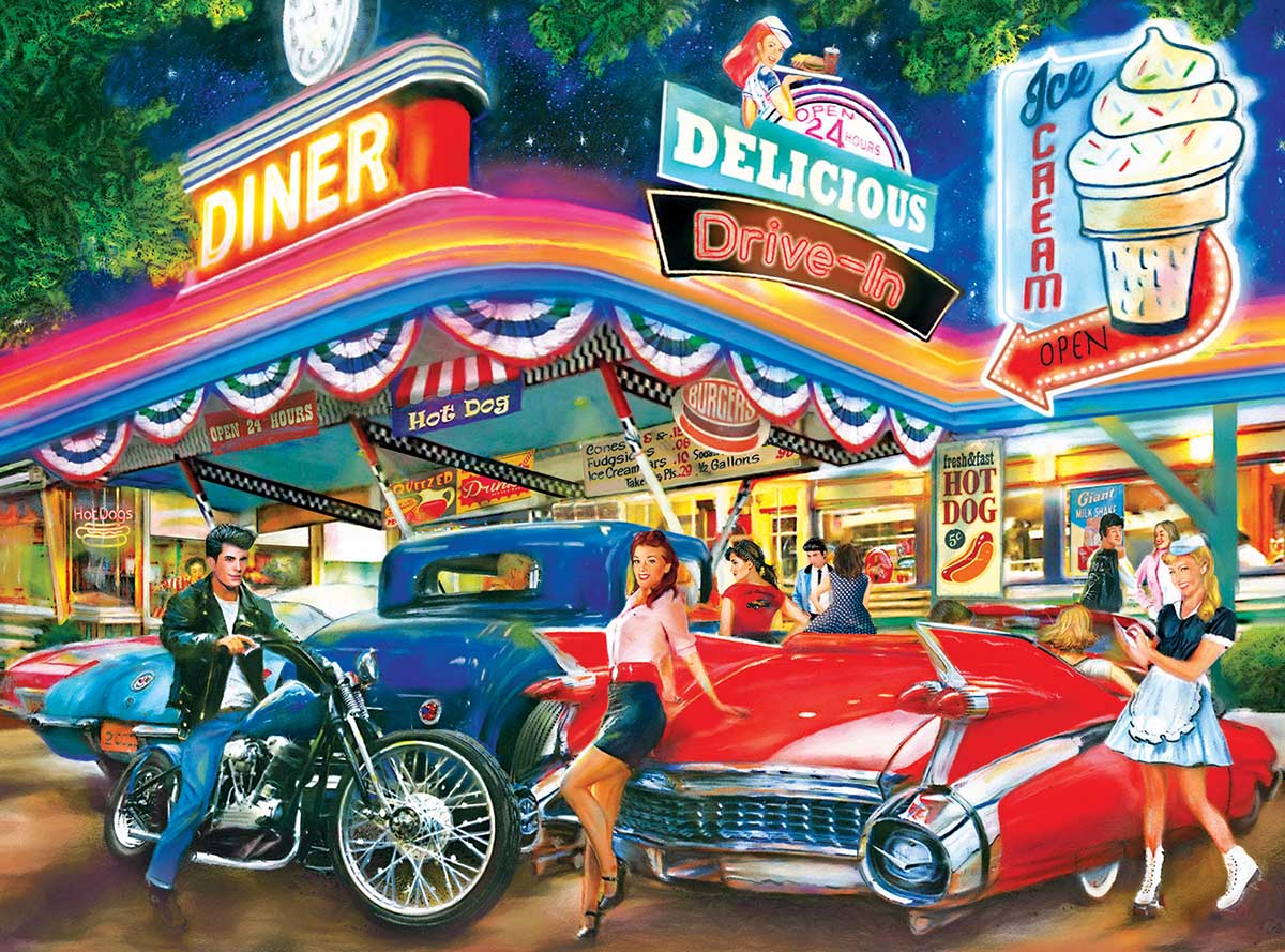 Rollerskate Drive-in Theatre - Scratch and Dent Cars Jigsaw Puzzle