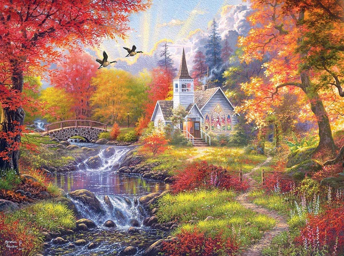 Woodland Church Fall Jigsaw Puzzle