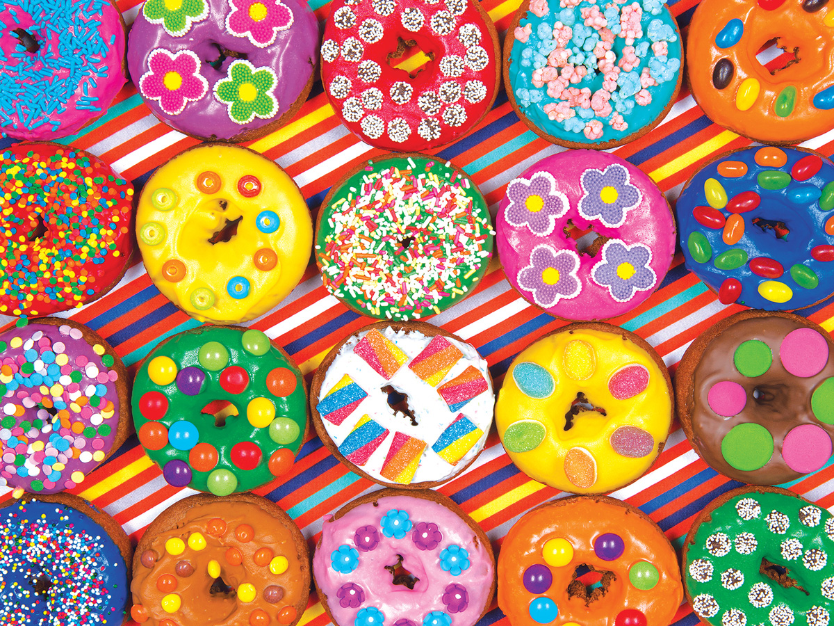 Rainbow Decorated Doughnuts Food and Drink Jigsaw Puzzle