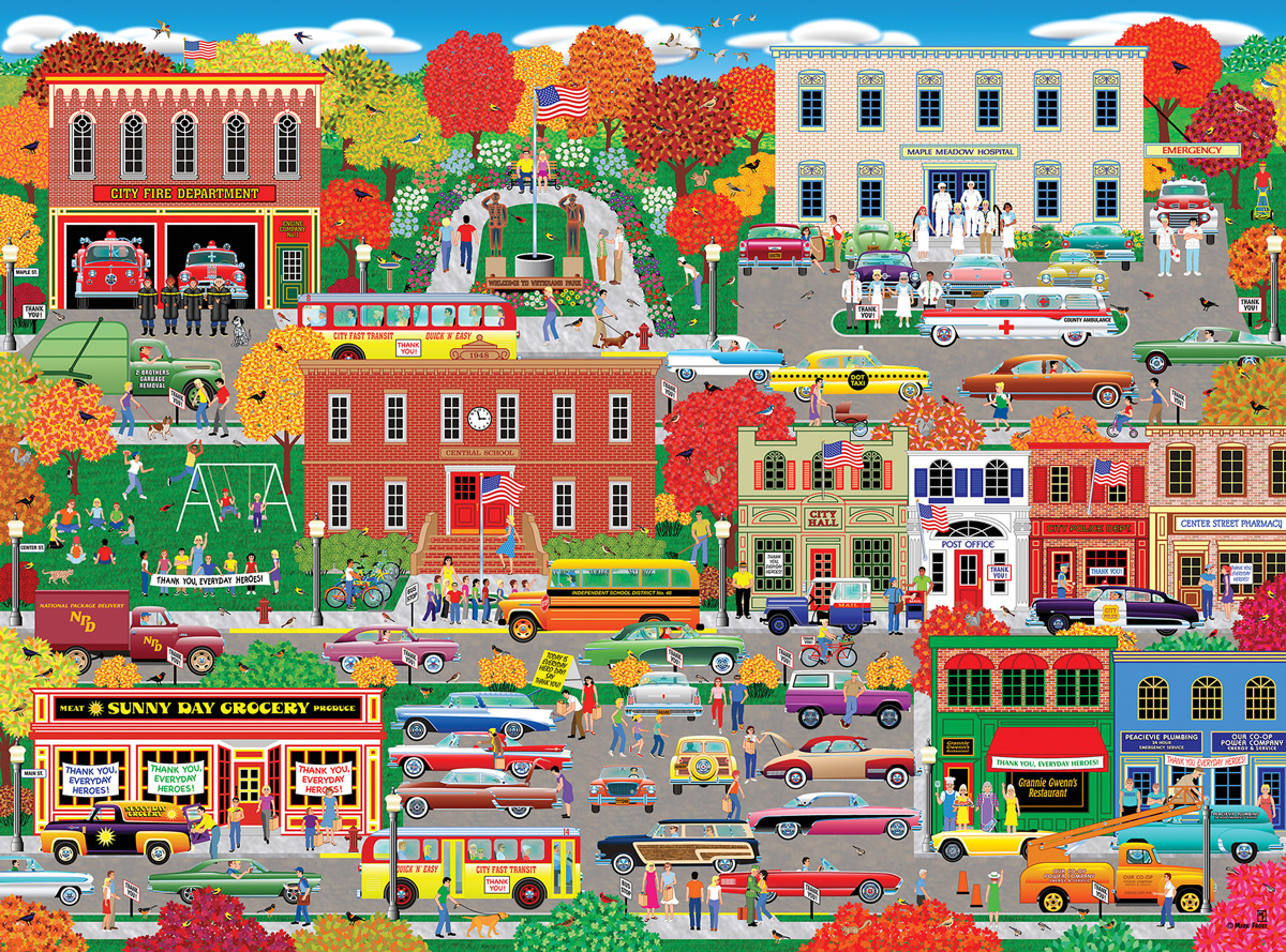 Home Country - Everyday Heroes Americana & Folk Art Jigsaw Puzzle