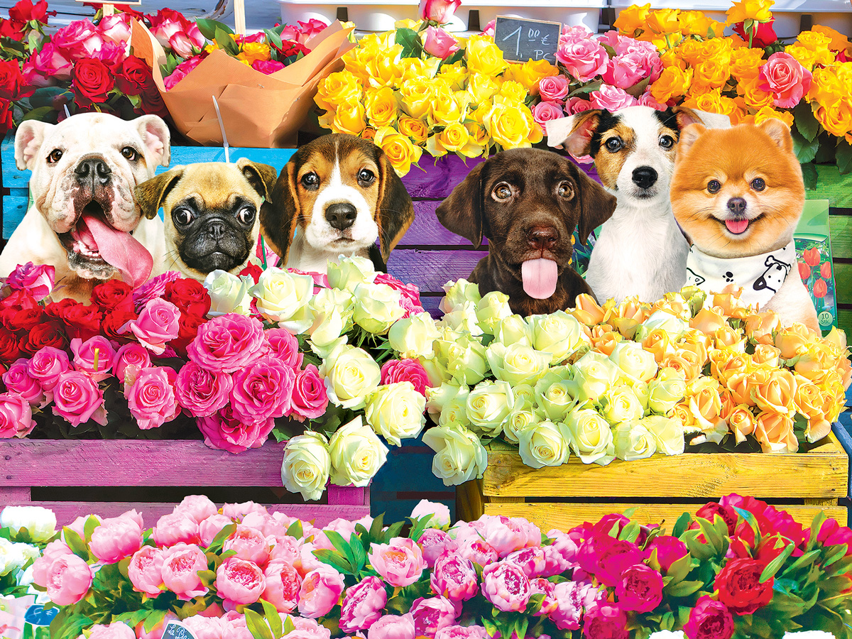 Flower Market Pups Dogs Jigsaw Puzzle