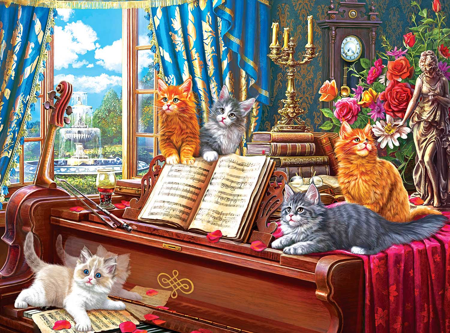Piano Lessons Cats Jigsaw Puzzle