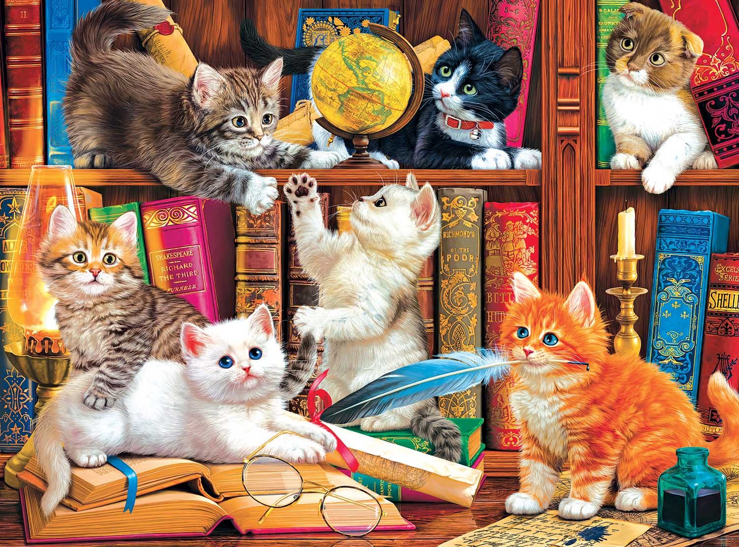 Library Mischief Cats Jigsaw Puzzle