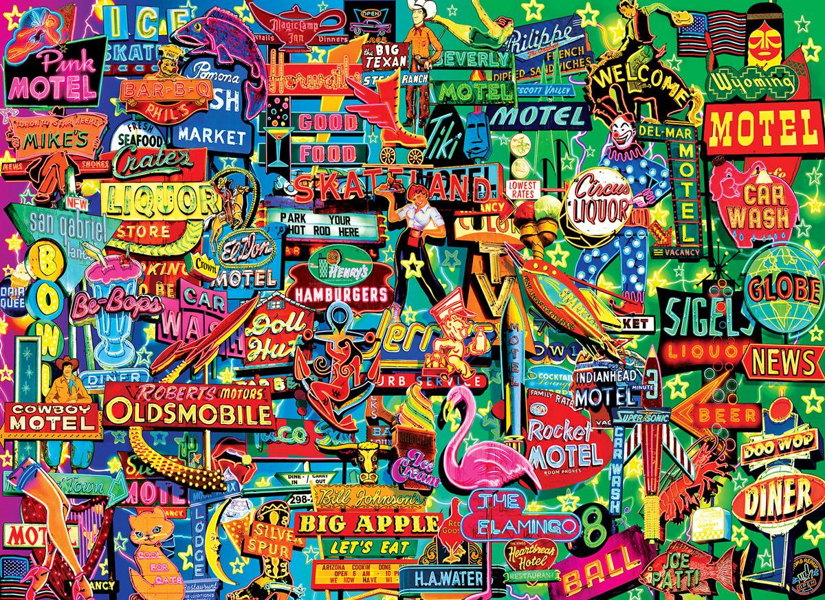 Neon Retro Signs Jigsaw Puzzle