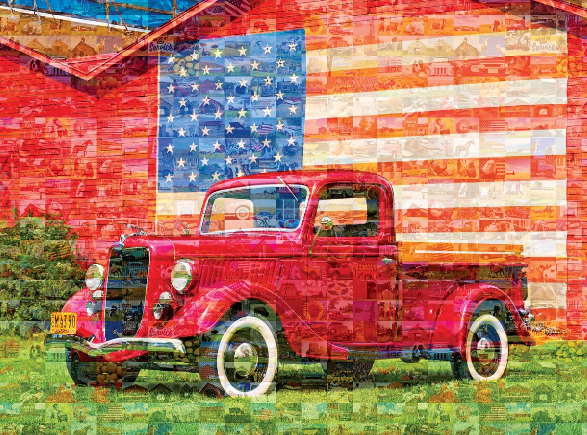 American Pickup Truck Patriotic Jigsaw Puzzle