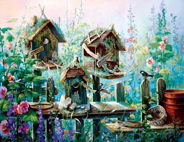 Birdhouse Row Birds Jigsaw Puzzle